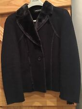 Betty Barclay Collection Suede Effect Fur Lined Navy Jacket  Size 12 38 Medium