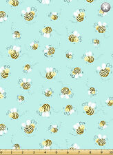 """25"""" Bolt End Susybee LYON the Lion Aqua Bees Allover Quilt Fabric ~ #20197-930"""