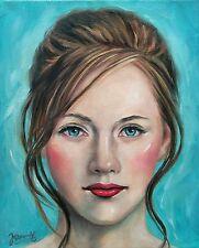 Jannys ART - Sarah - Kunst Malerei handgemalt Öl Portrait Bild Leinwand