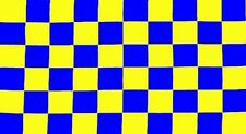 CHECKERED BLUE/YELLOW FLAG 3FT X 2FT 3'X2'  W/ TWO METAL EYELETS CHECKED