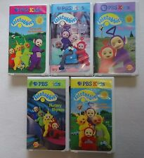 Teletubbies VHS Lot of 5 Video Tapes PBS Funny Day Dance Nursery Rhymes Hugs