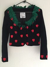 "Cheap And Chic MOSCHINO Velvet ""Strawberry Hearts"" Jacket Size Small Italy"