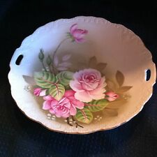 Vintage Lefton Serving Plate Green Heritage Rose Hand Painted CHINA Apx. 9""