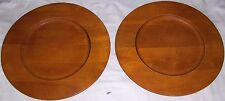 "2 LOT BANANA REPUBLIC 15"" DECORATIVE WOOD CHARGER PLATES USED GOOD CONDITION"