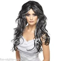 Ladies Gothic Vampire Witch Black Grey Wig Halloween Fancy Dress Costume