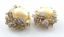 GLAMOROUS Vintage 1960s CINER Goldtone Rhinestones & Faux Pearl Clip-On EARRINGS