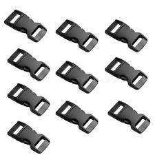 """10pcs New 3/8"""" Flat Side Release Buckles Black Webbing Straps For Paracord CGYG"""