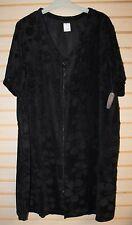 NEW WOMENS PLUS SIZE 4X 26W 28W BLACK TERRY FRONT ZIP ROBE SWIMSUIT COVER UP