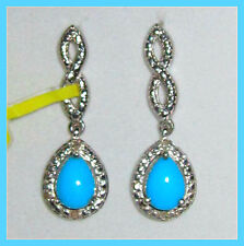 Sleeping Beauty Turquoise /Diamond drop/dangling Earrings Sterling Silver 925