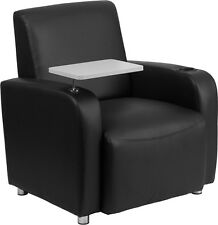 Flash Furniture Black Leather Guest Chair with Tablet Arm, Chrome Legs and...