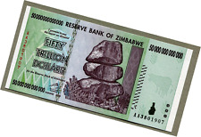ZWD Reserve Bank of Zimbabwe Z$ Dollar Banknote - 50 Trillion Dollars - MINT NEW