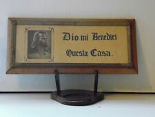 Vintage Wooden Framed Jesus Bless our Home Plaque In Written Italian