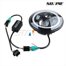Motorcycle 7'' LED Headlight DRL Halo Ring Amber Turn Projector Light for Harley