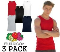 3 MENS FRUIT OF THE LOOM VESTS, CHOOSE YOUR PACK COLOUR & SIZE