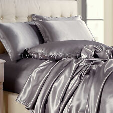 SILVER Satin Sheet Set KING Size NEW Quality Luxury Silk Feel Bed Linen Bedding