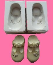 PAIR OF 3D BABY GIRL BUTTERFLY SHOES SILICONE MOULD CAKE TOPPERS CHOCOLATE ETC