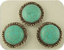 Beads Faux Turquoise Cabochons w/Leaf & Dot Pattern Frames 2 Hole Sliders QTY 3