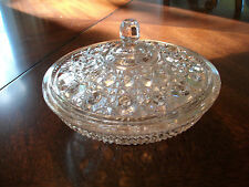 Pink candy or nut dish, depression glass with lid