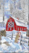 Red Barn in Snow Panel By Timeless Treasures-Quilt Design-Sled-Trees-Snow