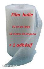 Lot de 1 rouleau d' adhesif + 1film papier bulle 50 cm x 50 mètre  bulle Ø12