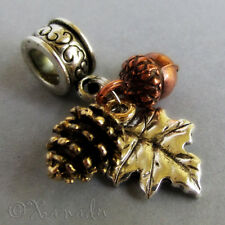 Fall Treasures Gold Pine Cone, Copper Acorn, Silver Leaf European Charm Bead