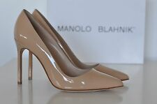 BNIB Auth Manolo Blahnik BB Nude Patent Pointy Pumps Heels Shoes sz 8 / 38