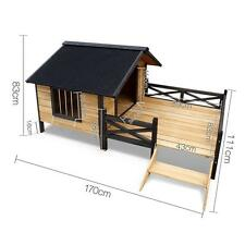 Wooden Timber Pet Dog Elevated Waterproof Outdoor Kennel House w/ Porch Patio