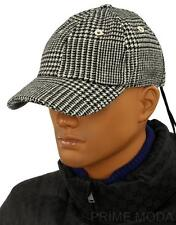 NEW MONCLER LUXURY HOUNDSTOOTH BLACK WOOL LOGO BASEBALL BALL CAP HAT  ONE SIZE