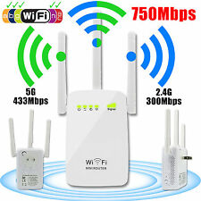 750Mbps Dual Band 2.4/5G Wireless Range Extender WiFi Repeater Router 3x Antenna