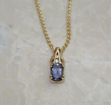 "14k Yellow Gold 1.20 ctw Russian Alexandrite Diamond Pendant 18"" Chain Necklace"