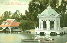 Los Angeles,CA. Boaters near the Band Stand and Boat House in Eastlake Park 1907