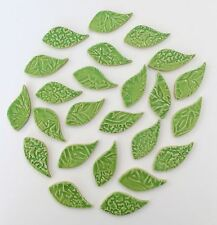 "25 - 2"" Lime Ceramic Leaf Mosaic Tiles - High Fired"