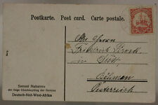 GERMAN SOUTH WEST AFRICA POSTCARD FROM NAMIBIA TO GERMANY 1907 10 PFENNIG #SP502