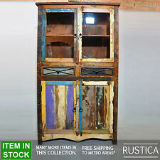 RUSTICA Reclaimed Recycled boat timber wood display glass cabinet kitchen pantry
