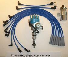 FORD 351C/M-400-429-460 BLUE Small HEI Distributor, 40K Coil & SPARK PLUG WIRES