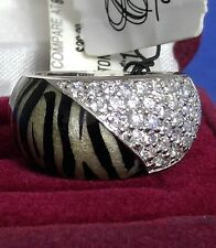 Sterling Silver Animal Zebra Cubic Zirconium Ring size 7 NWT Cream & Black Heavy
