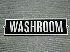 """Vintage Retro Style Black With White Letters WASHROOM Door Sign 8"""" x 2 1/4"""""""