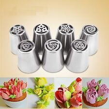 7Pcs Easy Flower Piping Cake Cupcake Icing Nozzles Tips Rose Tulip Blossom Tools