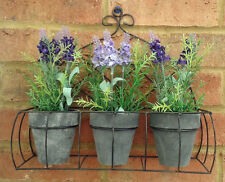 French Style Vintage Chic Shelf Basket 3 pots of Plastic Lavender Wall Wire New
