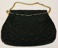 STUNNING ART DECO BLACK BEADED EVENING BAG HANDBAG