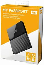 BRAND NEW WD My Passport 4TB External USB 3.0 Black Portable Hard Drive SEALED
