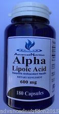 Alpha Lipoic Acid Advanced Nutrition 600mg 180 Capsules 600mg Per Capsule