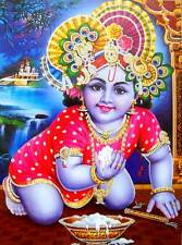 "Laddoo Gopal Krishna/ Large Hindu God Poster with Glitter Effect 28"" X 20""Inches"