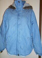 Roxy Junior Sherpa Lined Hooded Denim Jacket Blue Small (S) NWT