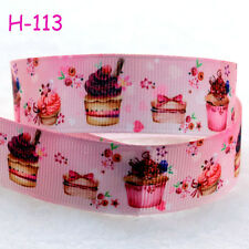1 yard (22mm) chocolate cake Print Grosgrain Ribbon Bows Sewing DIY Crafts Gifts