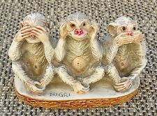 Ancienne statuette singes secret du bonheur NIGRI déco vintage french antique