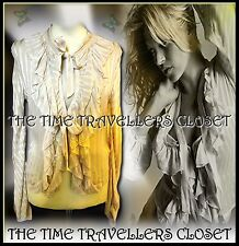BNWT KATE MOSS TOPSHOP IVORY CREAM SHEER SELF STRIPE RUFFLE TIE BLOUSE TOP UK 8