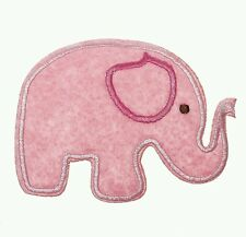 Iron on pink elephant nursery baby applique patch