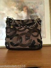 COACH ❀ LIMITED ED BROOKE #14340 INLAID C SUEDE TAUPE BROWN HOBO HANDBAG ❀ EUC