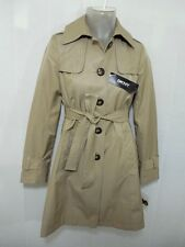 New DKNY Womens Pea Coat Belted Trench Button Jacket Army L Tan Khaki Anti Water